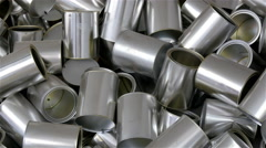 Closer look of the shiny tin cans Stock Footage