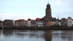 Deventer skyline view with Lebuïnuskerk and ijssel river Stock Footage