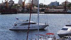 Berth Yacht In The Sea Port Stock Footage
