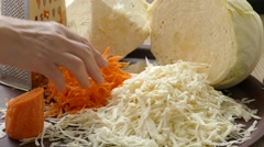 Mixing of chopped cabbage ,carrot Stock Footage
