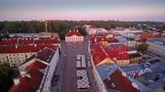 Aerial view of the Town Hall square in Tartu Stock Footage