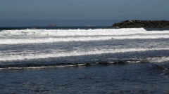 Waves With Breakwater And Rocks In Background - stock footage
