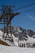 Construction for Ski Cabin with gondola Stock Photos