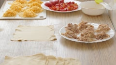 The stuffing  pies  food ingredients-chicken meat, cheese, tomatoes Stock Footage