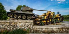 Tank Memorial to Soviet soldiers - stock photo