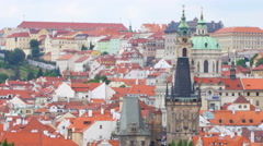PRAGUE - CZECH REPUBLIC, AUGUST 2015: people crossing bridge castle - stock footage