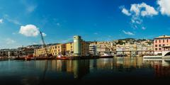 Port in Genoa is the capital of Liguria Stock Photos