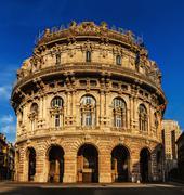 building of stock exchange in Genoa, Italia - stock photo