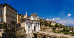 Bergamo, city gate Stock Photos