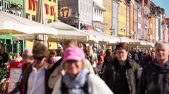 Time Lapse of Crowded Nyhavn District - Copenhagen Denmark Stock Footage