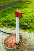 Red and white standpipe Stock Photos