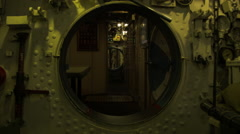 Hatch on a Soviet nuclear submarine in Russia Stock Footage