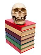 Skull of  person and  book. Stock Photos