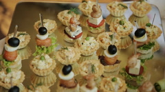 beautifully decorated buffet table Canapes - stock footage