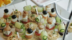 beautifully decorated buffet restaurant canapes - stock footage