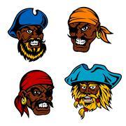 Danger cartoon pirates, captains and sailors Stock Illustration
