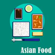 Korean cuisine dishes with shrimp, rice and sauce Stock Illustration
