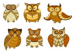 Brown and yellow spotted forest owl birds - stock illustration
