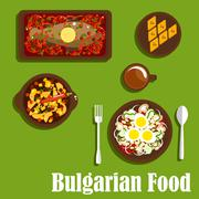 Traditional bulgarian cuisine dishes and drink Stock Illustration