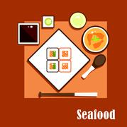 Seafood dishes and sauce of asian cuisine - stock illustration
