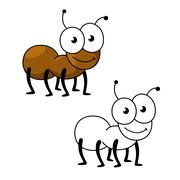 Cartoon brown worker ant insect - stock illustration