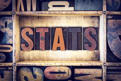 Stats Concept Letterpress Type Stock Photos