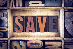 Save Concept Letterpress Type - stock photo
