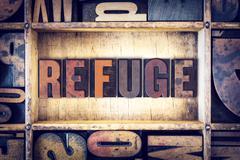 Refuge Concept Letterpress Type - stock photo