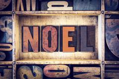 Noel Concept Letterpress Type Stock Photos