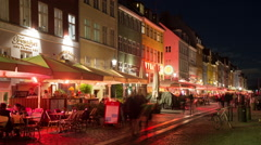Time Lapse of Scenic Nyhavn District at Night  - Copenhagen Denmark Stock Footage
