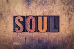 Soul Concept Wooden Letterpress Type Stock Photos