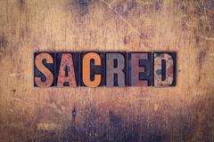 Sacred Concept Wooden Letterpress Type - stock photo