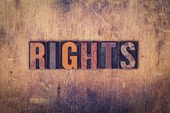 Rights Concept Wooden Letterpress Type - stock photo