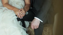 Bride and Groom Holding Hands Close Up Stock Footage