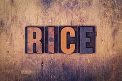 Rice Concept Wooden Letterpress Type Stock Photos
