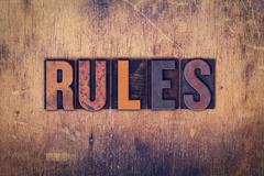 Rules Concept Wooden Letterpress Type - stock photo