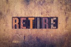 Retire Concept Wooden Letterpress Type Stock Photos