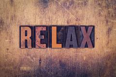 Relax Concept Wooden Letterpress Type Stock Photos