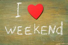 Text i love weekend - stock photo