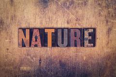 Nature Concept Wooden Letterpress Type Stock Photos