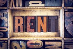Stock Photo of Rent Concept Letterpress Type