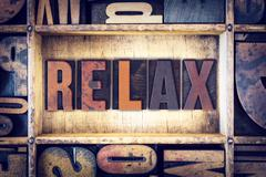 Relax Concept Letterpress Type - stock photo