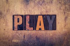 Play Concept Wooden Letterpress Type Stock Photos