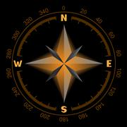 glowing compass dial - stock illustration