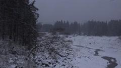 4k Oderteich lake winter forest Harz mountain range Germany Stock Footage