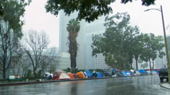 Homeless tents in Downtown Los Angeles in rain HD - stock footage