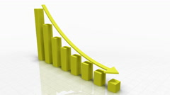 Stock Video Footage of Falling Bar Graph in YELLOW With Arrow