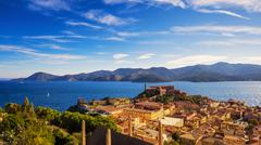 Elba island, Portoferraio aerial view. Lighthouse and fort. Tuscany, Italy. - stock photo
