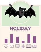Cartoon Bat Halloween Graphic - stock illustration