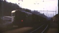 European trains, 1960's, passengers on platform Stock Footage
